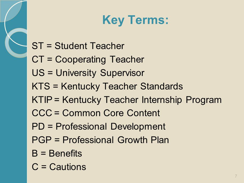 Compare your list with this one: Provide ST and CT with program information Lend best practice expertise and perspective Support use of co-teaching strategies Confer with CT and ST frequently to continually assess and guide ST progress Provide leadership and intervention as needed 18