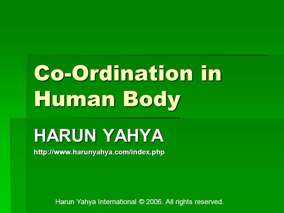 Co-Ordination in Human Body HARUN YAHYA http://www.harunyahya.com/index.php Harun Yahya International © 2006.