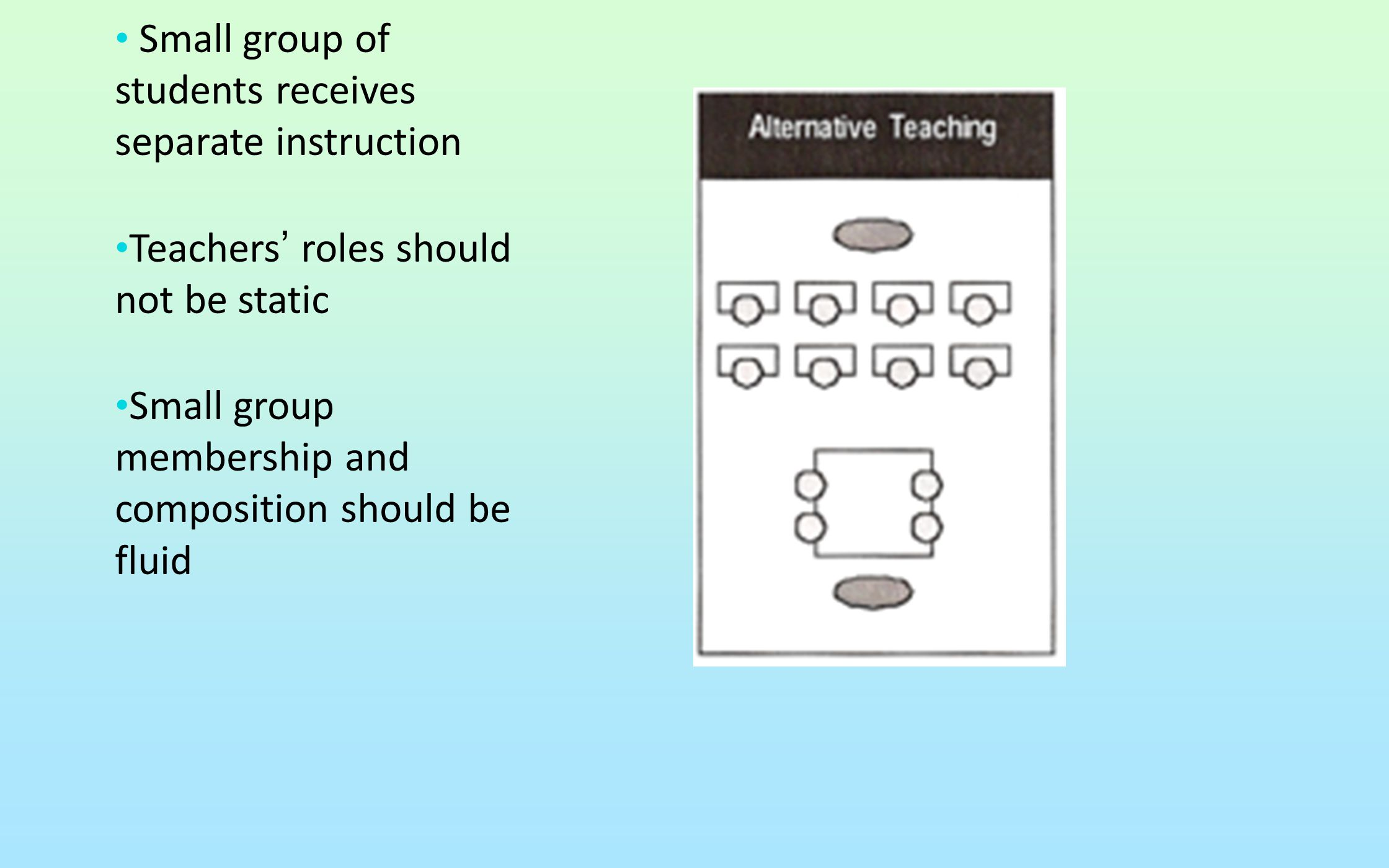 Small group of students receives separate instruction Teachers' roles should not be static Small group membership and composition should be fluid