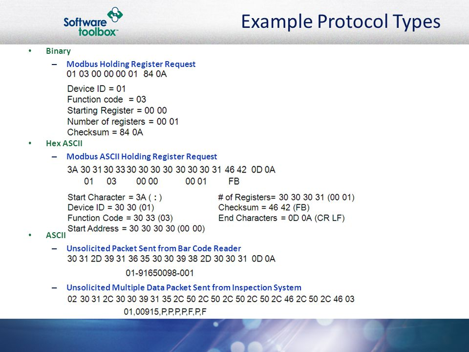Example Protocol Types Binary – Modbus Holding Register Request Hex ASCII – Modbus ASCII Holding Register Request ASCII – Unsolicited Packet Sent from