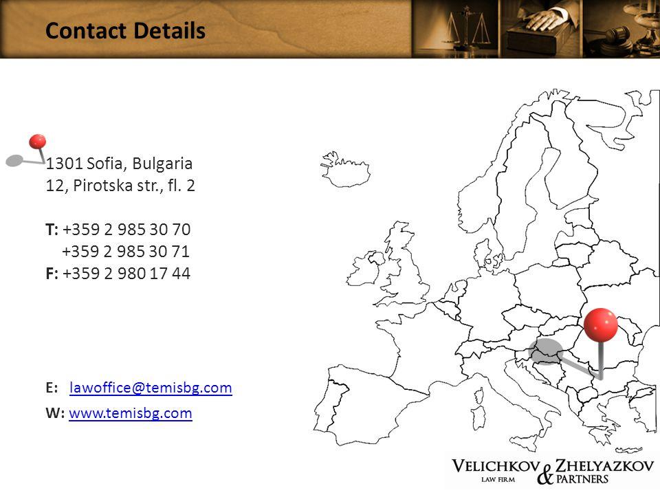 Contact Details 1301 Sofia, Bulgaria 12, Pirotska str., fl.
