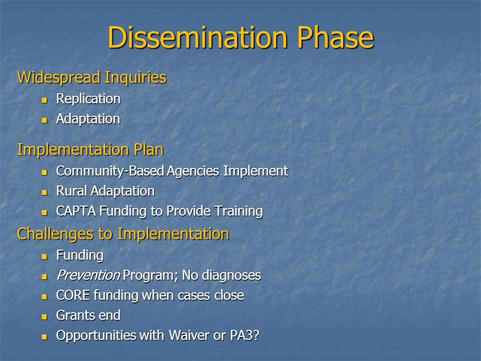 Dissemination Phase Widespread Inquiries Replication Replication Adaptation Adaptation Implementation Plan Community-Based Agencies Implement Communit