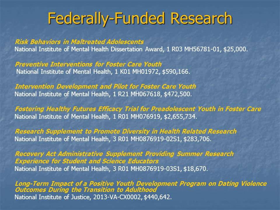 Federally-Funded Research Risk Behaviors in Maltreated Adolescents National Institute of Mental Health Dissertation Award, 1 R03 MH56781-01, $25,000.