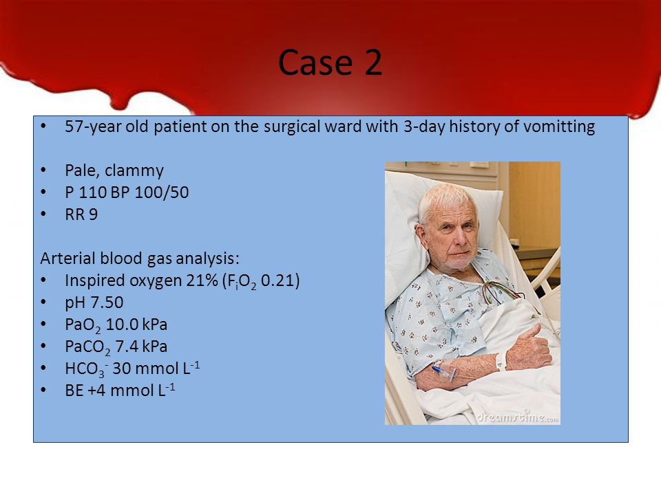 Case 2 57-year old patient on the surgical ward with 3-day history of vomitting Pale, clammy P 110 BP 100/50 RR 9 Arterial blood gas analysis: Inspire