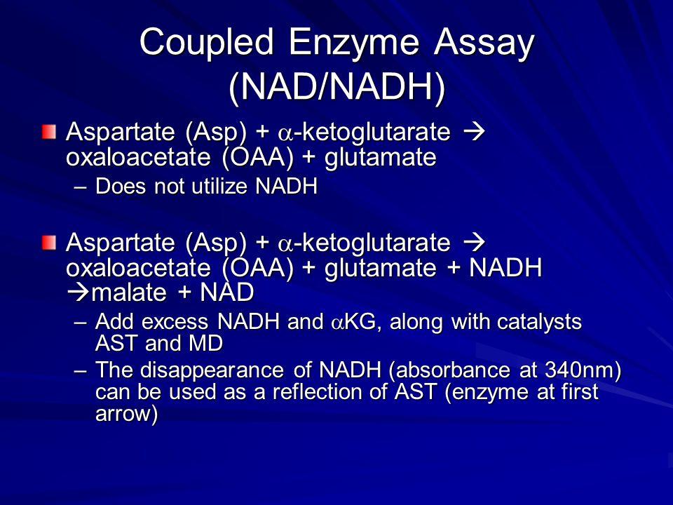 Coupled Enzyme Assay (NAD/NADH) Aspartate (Asp) +  -ketoglutarate  oxaloacetate (OAA) + glutamate –Does not utilize NADH Aspartate (Asp) +  -ketogl