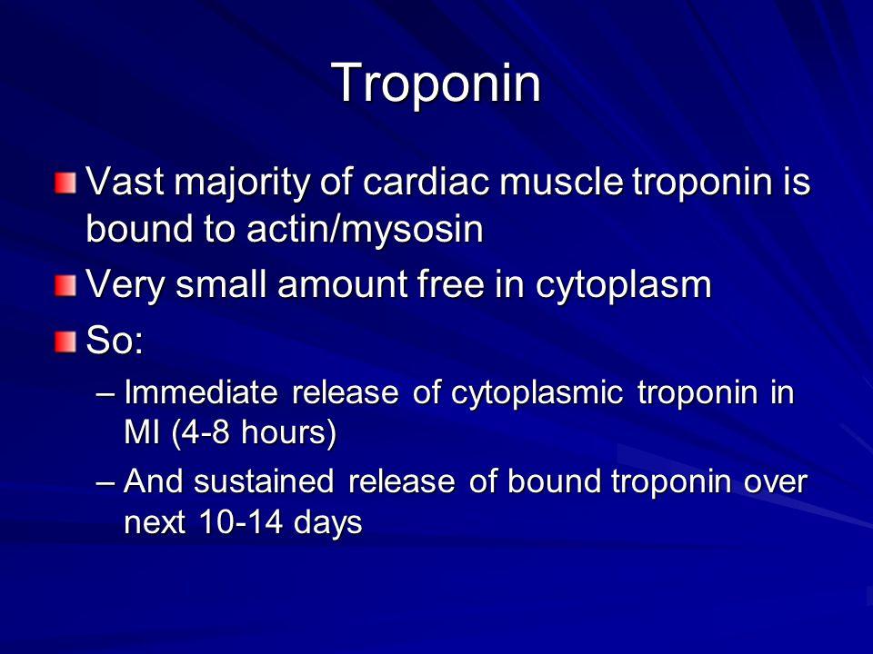 Troponin Vast majority of cardiac muscle troponin is bound to actin/mysosin Very small amount free in cytoplasm So: –Immediate release of cytoplasmic