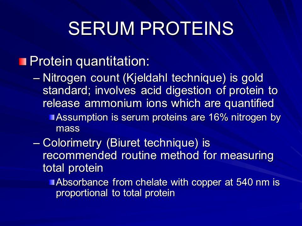 SERUM PROTEINS Protein quantitation: –Nitrogen count (Kjeldahl technique) is gold standard; involves acid digestion of protein to release ammonium ion