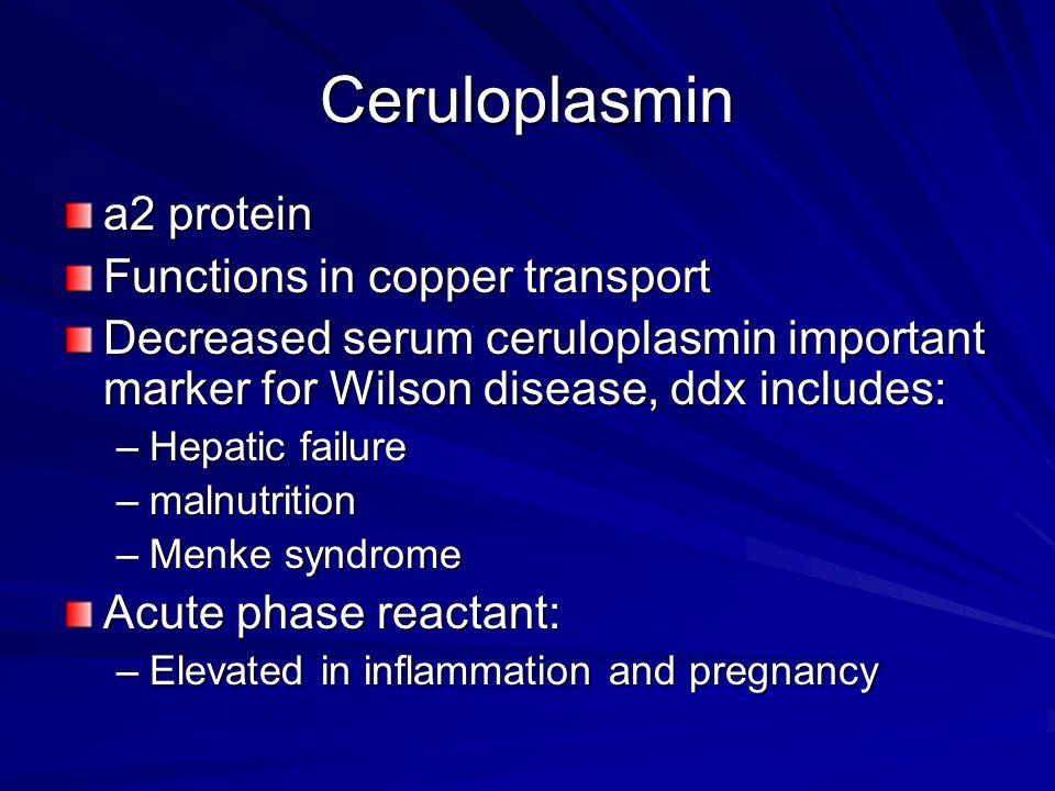 Ceruloplasmin a2 protein Functions in copper transport Decreased serum ceruloplasmin important marker for Wilson disease, ddx includes: –Hepatic failu