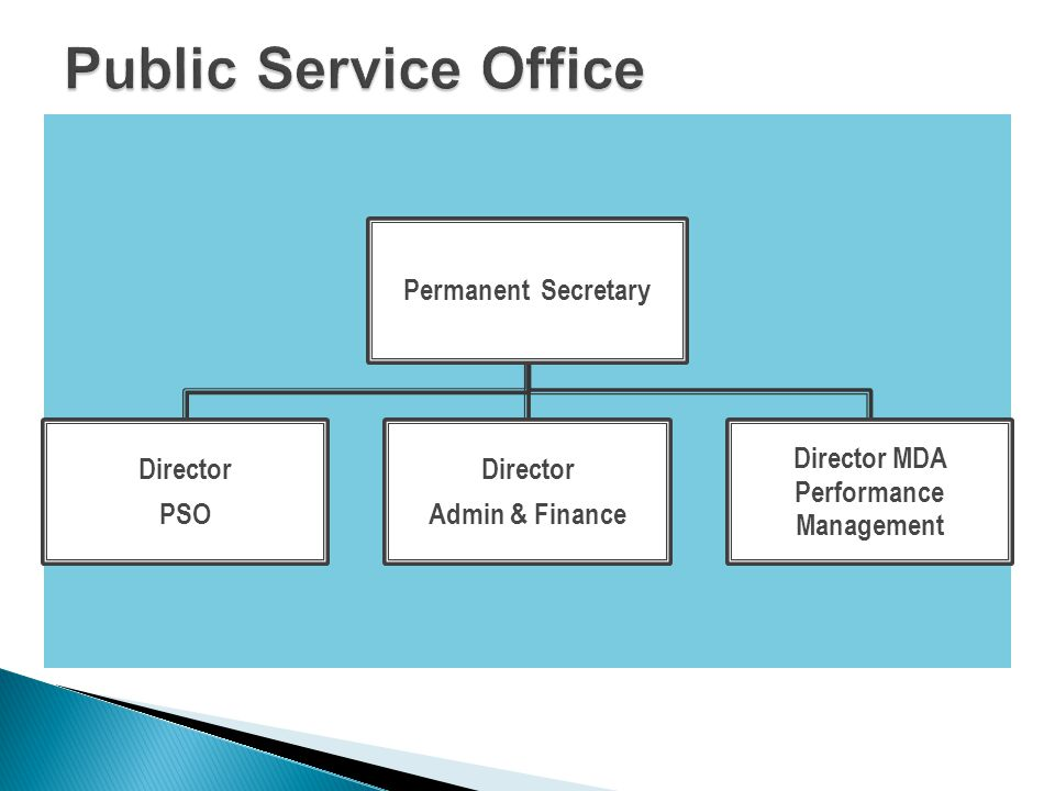 Permanent Secretary Director PSO Director Admin & Finance Director MDA Performance Management
