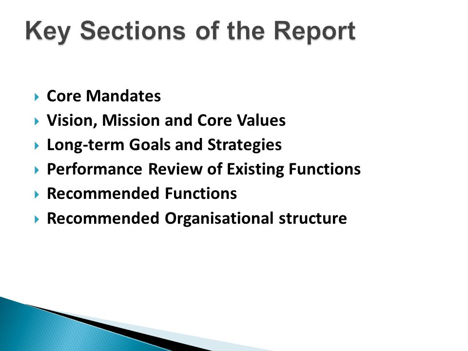  Core Mandates  Vision, Mission and Core Values  Long-term Goals and Strategies  Performance Review of Existing Functions  Recommended Functions  Recommended Organisational structure