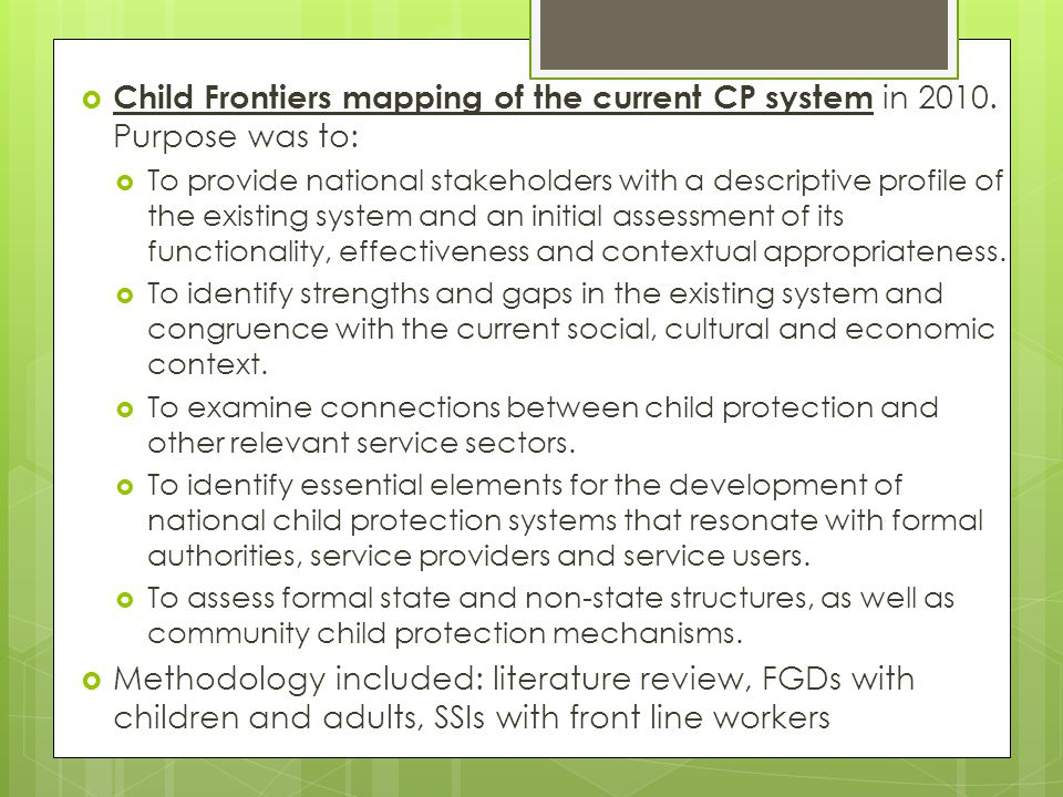  Child Frontiers mapping of the current CP system in 2010.