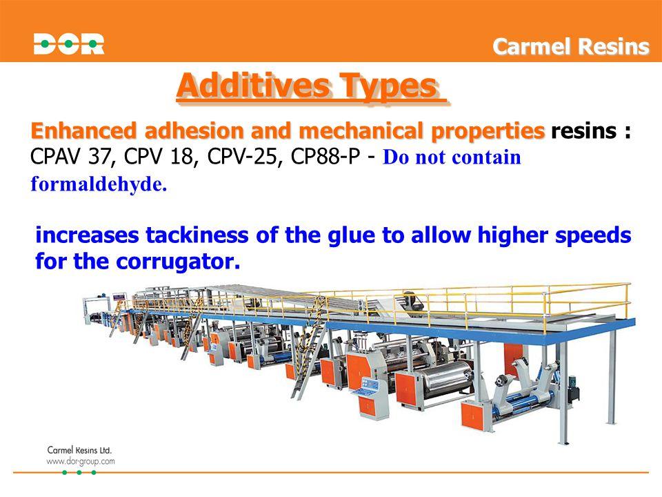 Additives Types Enhanced adhesion and mechanical properties Enhanced adhesion and mechanical properties resins : CPAV 37, CPV 18, CPV-25, CP88-P - Do