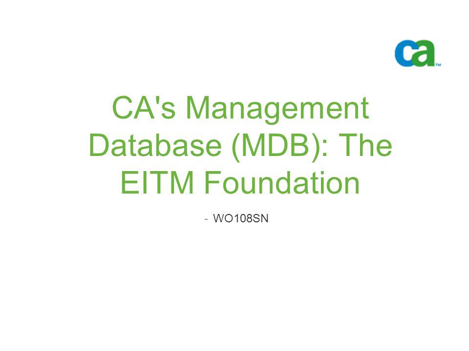 CA's Management Database (MDB): The EITM Foundation -WO108SN