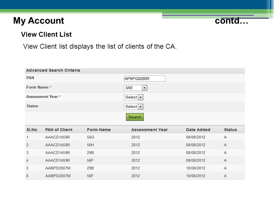 View Client List View Client list displays the list of clients of the CA. My Accountcontd…