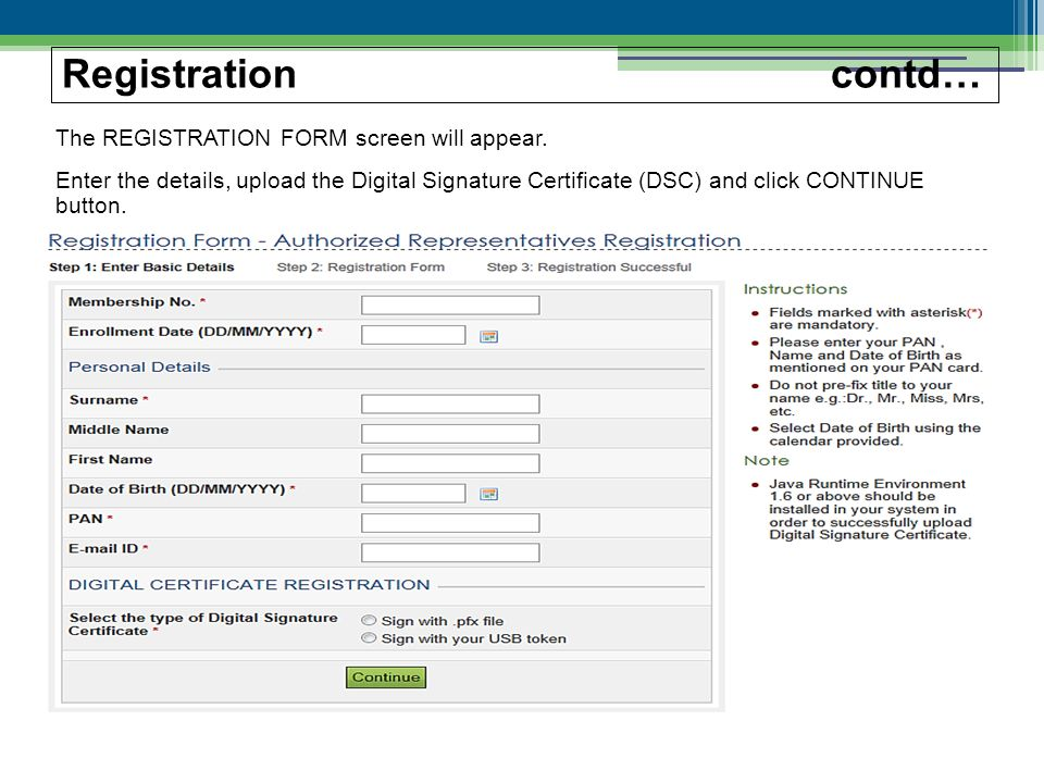 The REGISTRATION FORM screen will appear.