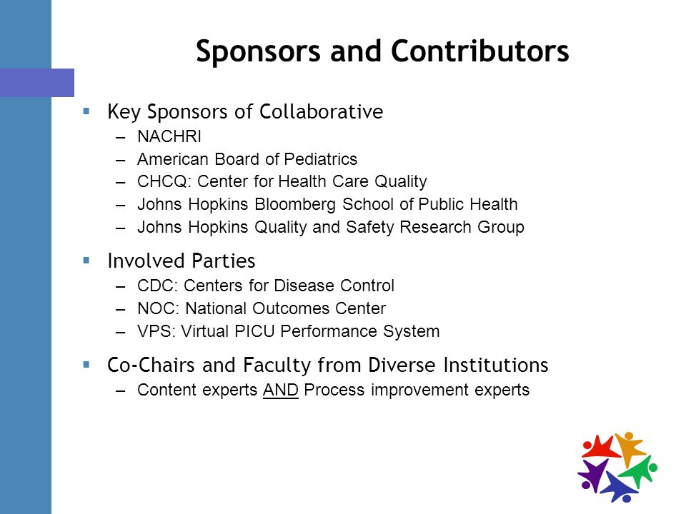 Sponsors and Contributors  Key Sponsors of Collaborative –NACHRI –American Board of Pediatrics –CHCQ: Center for Health Care Quality –Johns Hopkins Bloomberg School of Public Health –Johns Hopkins Quality and Safety Research Group  Involved Parties –CDC: Centers for Disease Control –NOC: National Outcomes Center –VPS: Virtual PICU Performance System  Co-Chairs and Faculty from Diverse Institutions –Content experts AND Process improvement experts