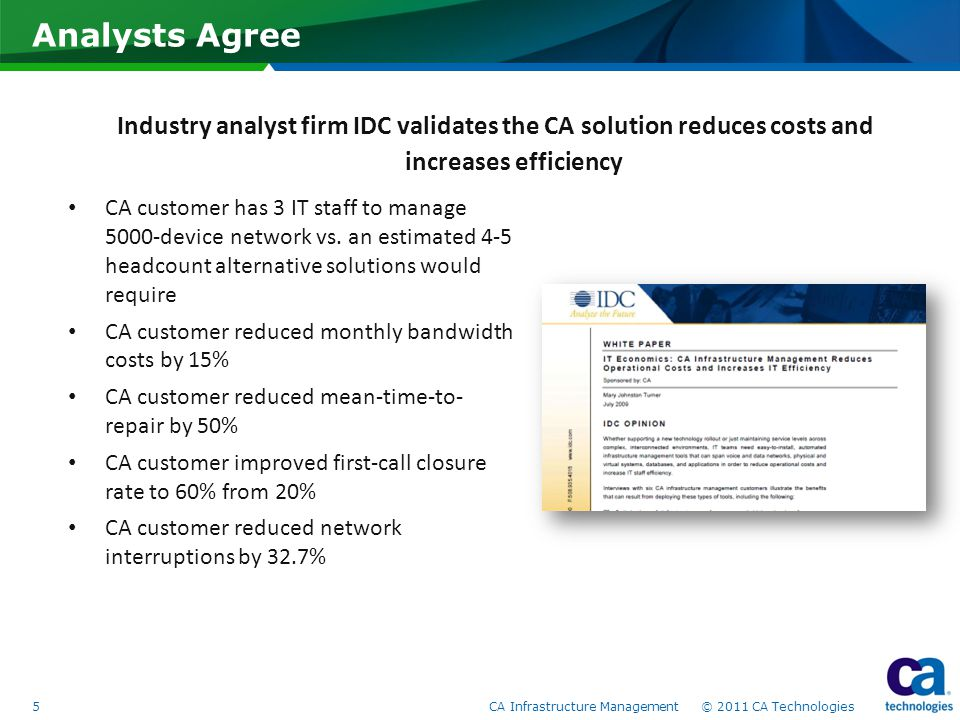 Analysts Agree 5 CA Infrastructure Management © 2011 CA Technologies CA customer has 3 IT staff to manage 5000-device network vs. an estimated 4-5 hea