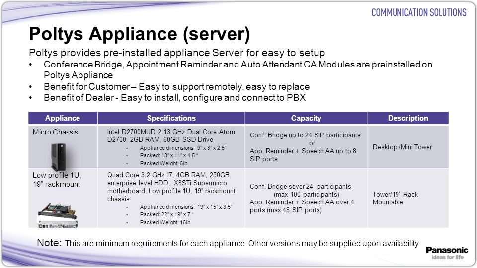 24 Poltys Appliance (server) Poltys provides pre-installed appliance Server for easy to setup Conference Bridge, Appointment Reminder and Auto Attenda