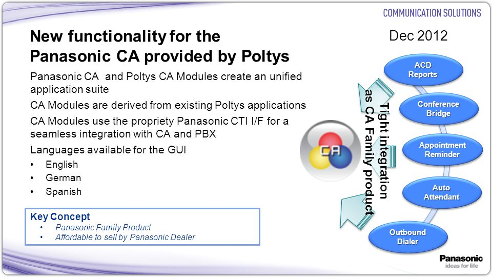 17 Poltys CA Outbound Dialer Module Automatically call customers in list using the agent phone when the agent status is available Call every customer in the List When the Call is Answered pop up screen for notes Agent writes call notes CA + TDE/NCP/NS1000 Call Every Entry in the List Call answered- Pay message No Answer – Retry later Customers Call Eveage No Ans wer – Ret ry late r Agent CA Client Outbound Dialer Module Outbound Dialer Module