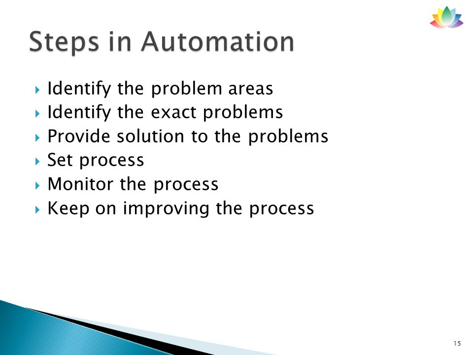  Identify the problem areas  Identify the exact problems  Provide solution to the problems  Set process  Monitor the process  Keep on improving the process 15