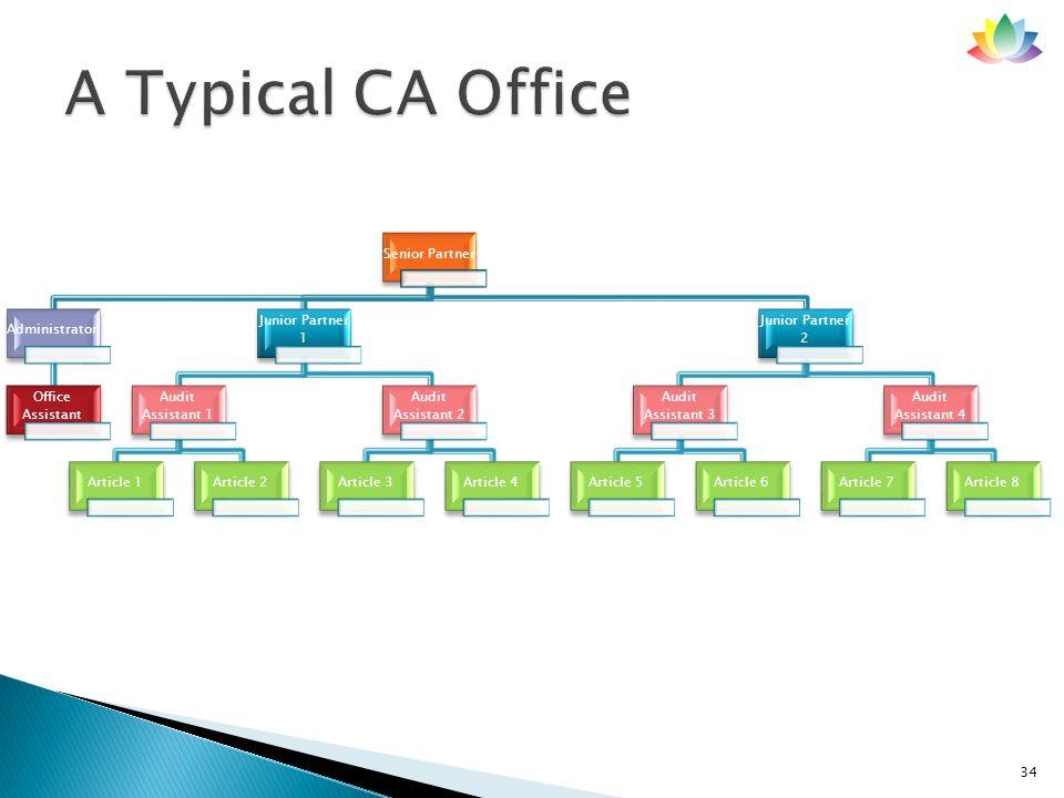 34 Senior Partner Administrator Office Assistant Junior Partner 1 Audit Assistant 1 Article 1Article 2 Audit Assistant 2 Article 3Article 4 Junior Par