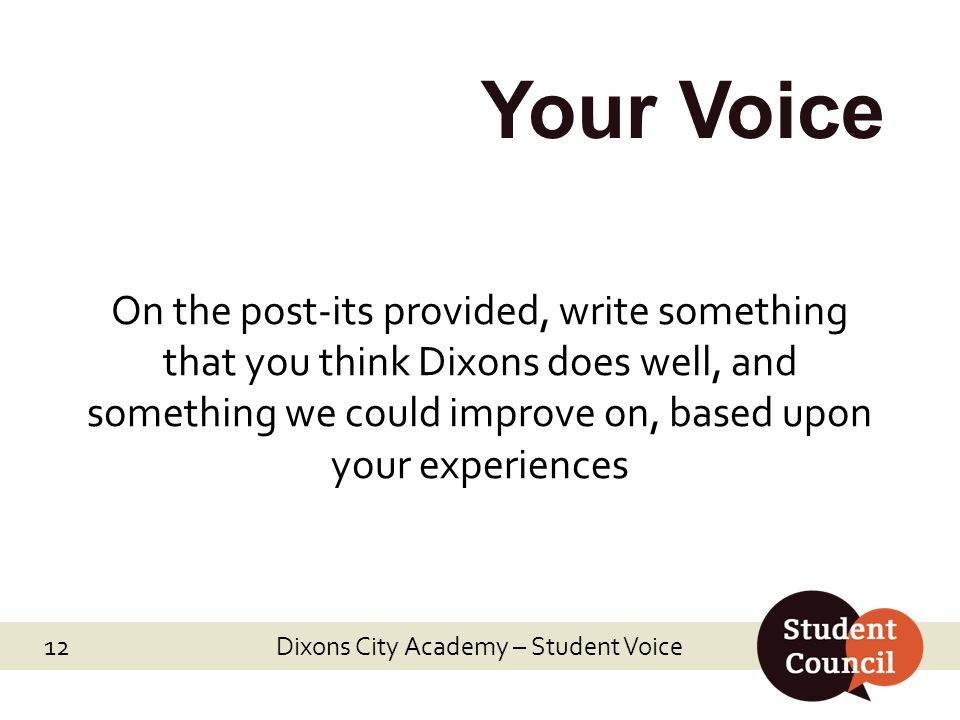 Dixons City Academy – Student Voice 12 Your Voice On the post-its provided, write something that you think Dixons does well, and something we could improve on, based upon your experiences