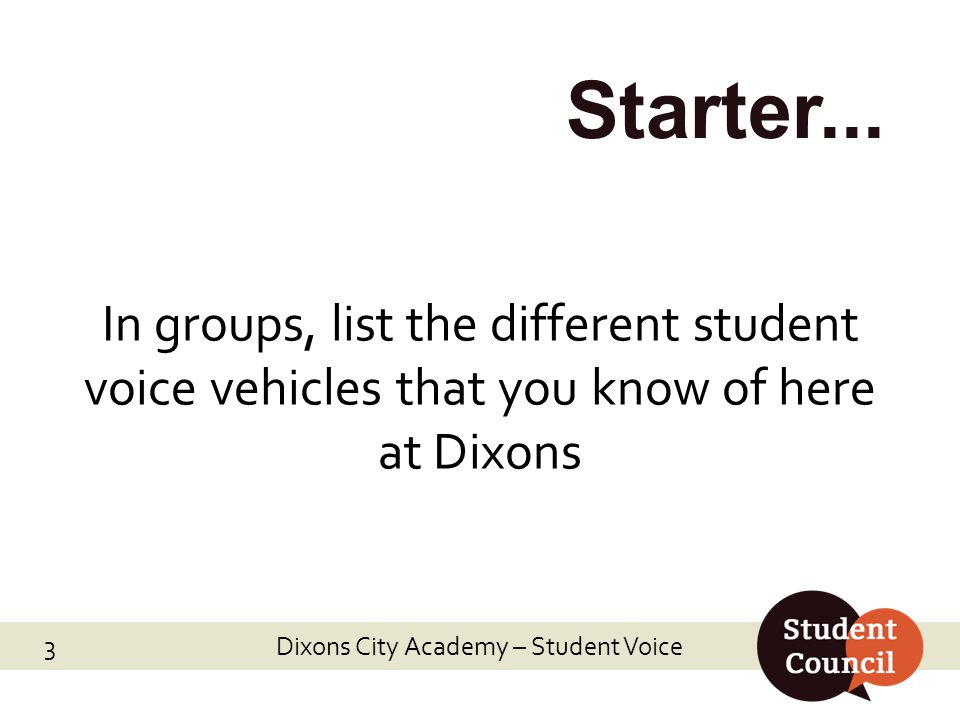 Dixons City Academy – Student Voice 3 Starter...
