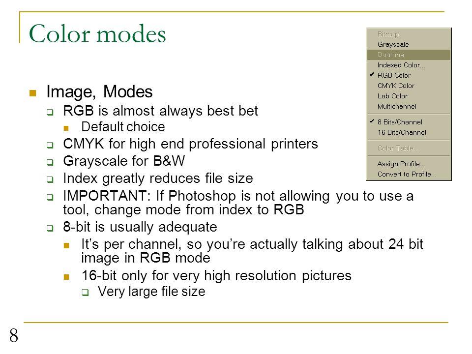 9 The Photoshop workspace image Options palettetoolbox History paletteLayers palette