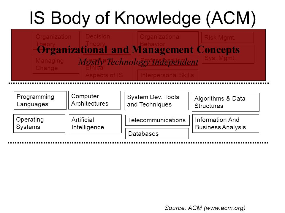 IS Body of Knowledge (ACM) Telecommunications Organization Theory Programming Languages Organizational Behavior System Dev.