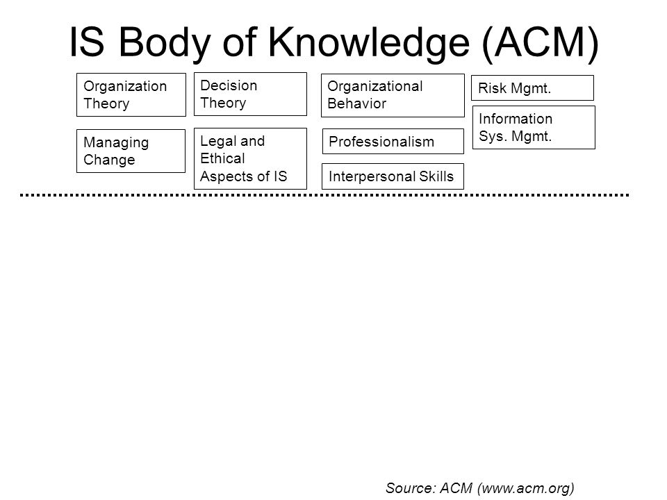 IS Body of Knowledge (ACM) Organization Theory Organizational Behavior Information Sys.