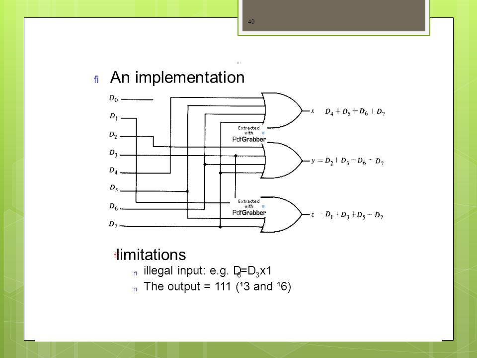 An implementation  limitations   illegal input: e.g. D 3636 The output = 111 (¹3 and ¹6) =Dx1 40