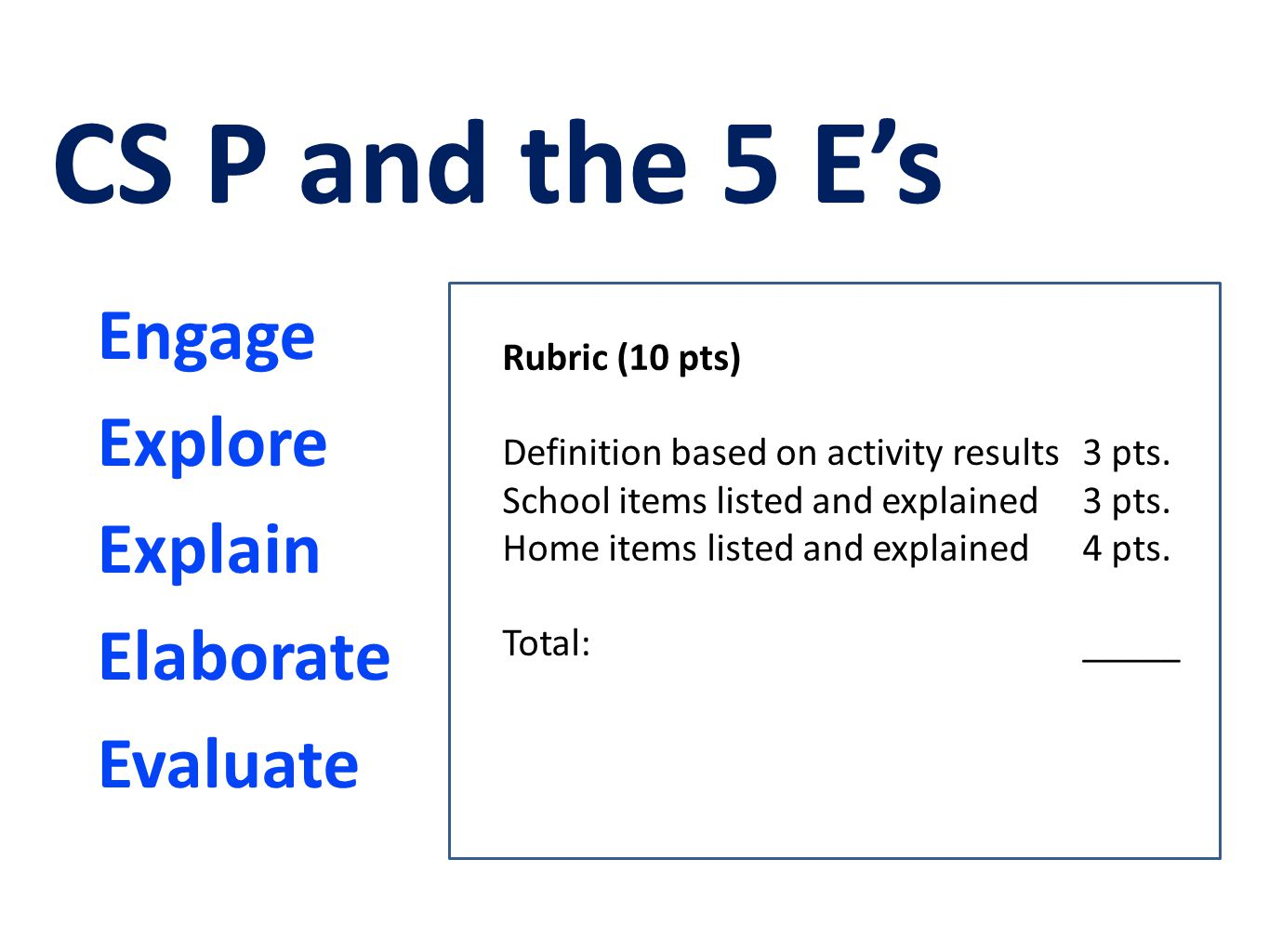 Engage Explore Explain Elaborate Evaluate CS P and the 5 E's Rubric (10 pts) Definition based on activity results3 pts. School items listed and explai