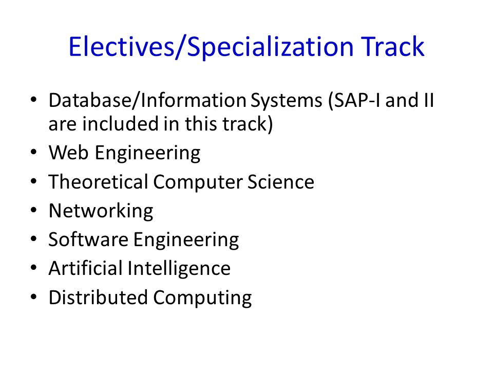 Electives/Specialization Track Database/Information Systems (SAP-I and II are included in this track) Web Engineering Theoretical Computer Science Net