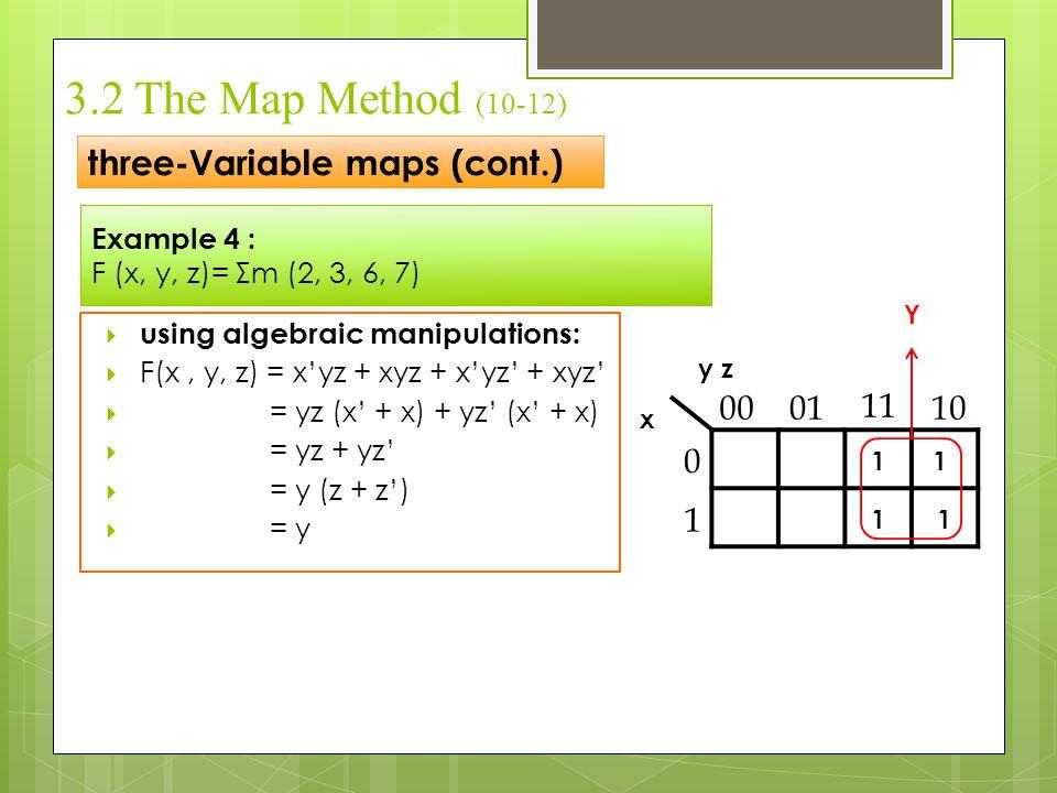 Example 4 : F (x, y, z)= Σm (2, 3, 6, 7) three-Variable maps (cont.) 3.2 The Map Method (10-12)  using algebraic manipulations:  F(x, y, z) = x'yz +