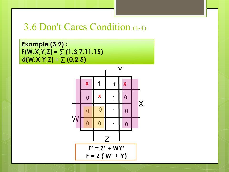3.6 Don't Cares Condition (4-4) Example (3.9) : F(W,X,Y,Z) = ∑ (1,3,7,11,15) d(W,X,Y,Z) = ∑ (0,2,5) X Y Z W 1 1 x x 1 0 x 1 1 0 0 0 0 0 0 0 F' = Z' +