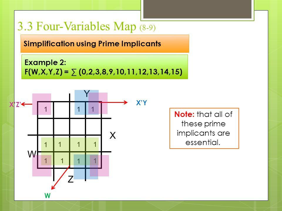 3.3 Four-Variables Map (8-9) Simplification using Prime Implicants Example 2: F(W,X,Y,Z) = ∑ (0,2,3,8,9,10,11,12,13,14,15) X Y Z W 111 1 111 111 1 W X