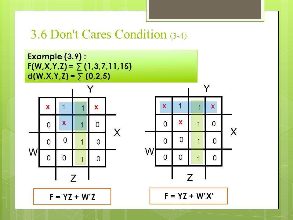 3.6 Don't Cares Condition (3-4) Example (3.9) : F(W,X,Y,Z) = ∑ (1,3,7,11,15) d(W,X,Y,Z) = ∑ (0,2,5) X Y Z W 1 1 x x 1 0 x 1 1 0 0 0 0 0 0 0 F = YZ + W