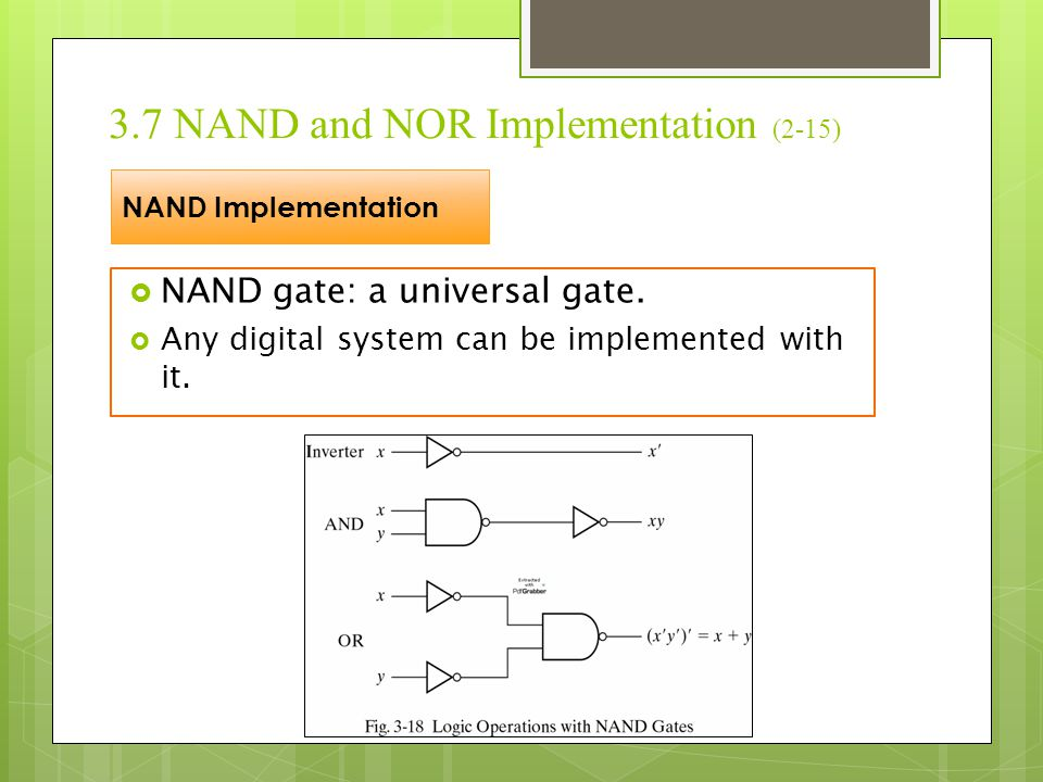3.7 NAND and NOR Implementation (3-15)  To facilitate the conversion to NAND logic, there are alternative graphic symbol for it.