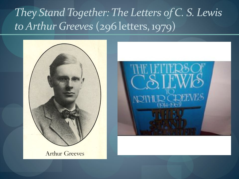 They Stand Together: The Letters of C. S. Lewis to Arthur Greeves (296 letters, 1979)