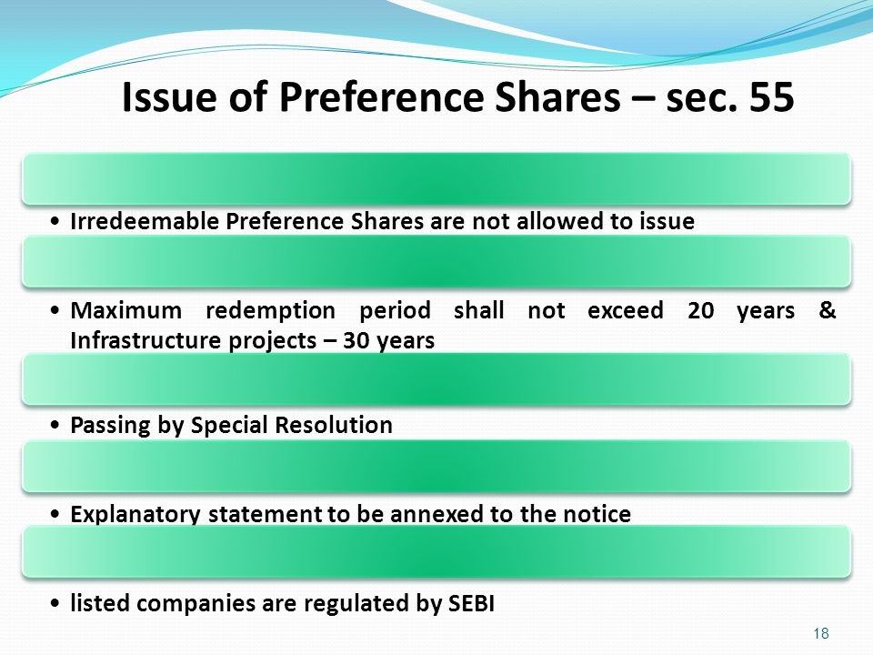 Issue of Preference Shares – sec. 55 18 Irredeemable Preference Shares are not allowed to issue Maximum redemption period shall not exceed 20 years &