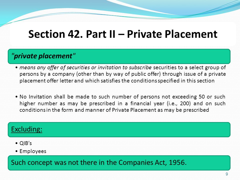 Section 42. Part II – Private Placement