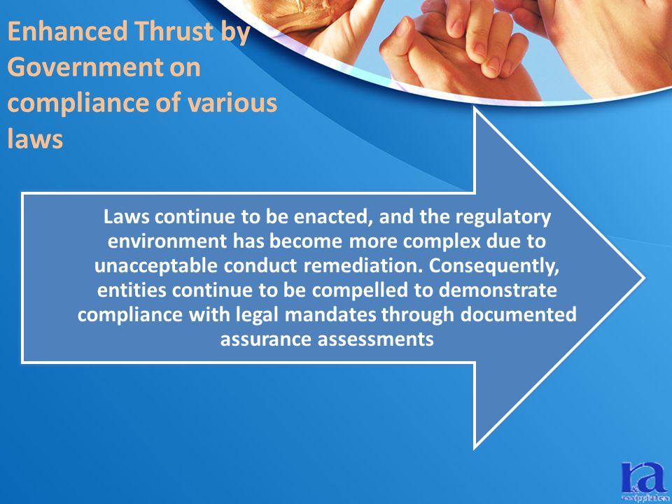 Enhanced Thrust by Government on compliance of various laws Laws continue to be enacted, and the regulatory environment has become more complex due to unacceptable conduct remediation.