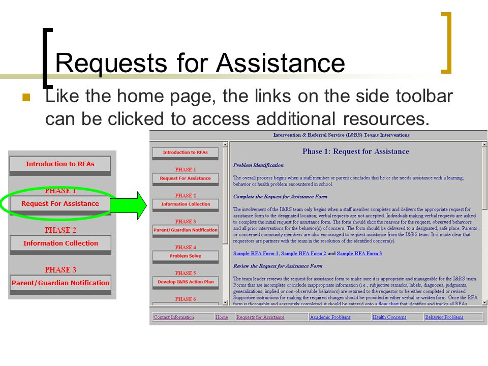 Requests for Assistance Like the home page, the links on the side toolbar can be clicked to access additional resources.