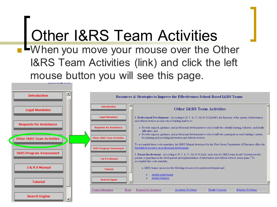 Other I&RS Team Activities When you move your mouse over the Other I&RS Team Activities (link) and click the left mouse button you will see this page.