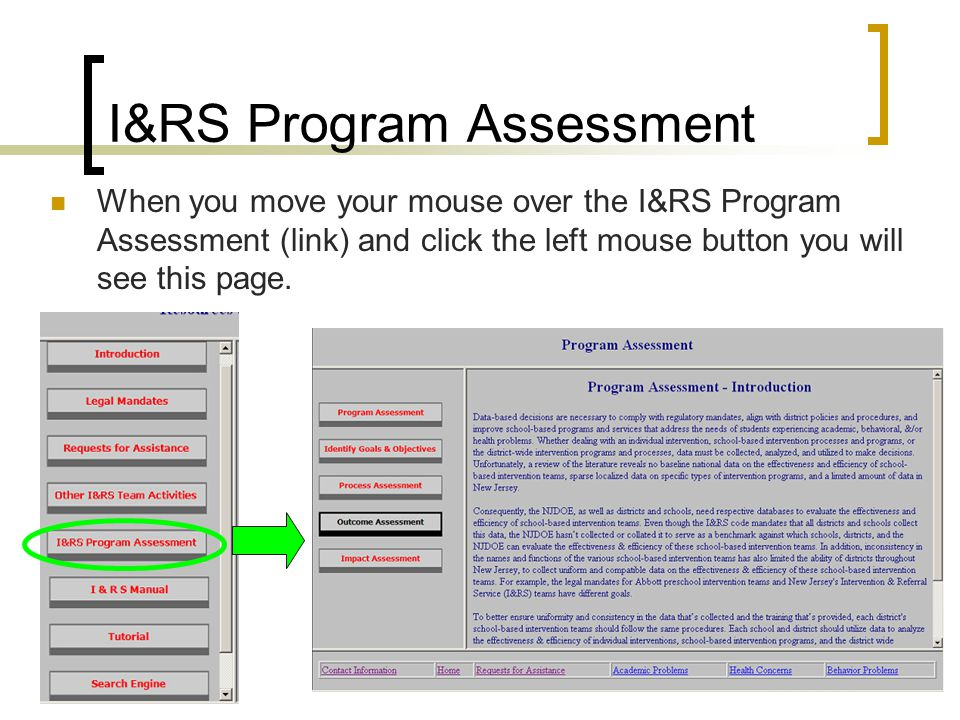 I&RS Program Assessment When you move your mouse over the I&RS Program Assessment (link) and click the left mouse button you will see this page.