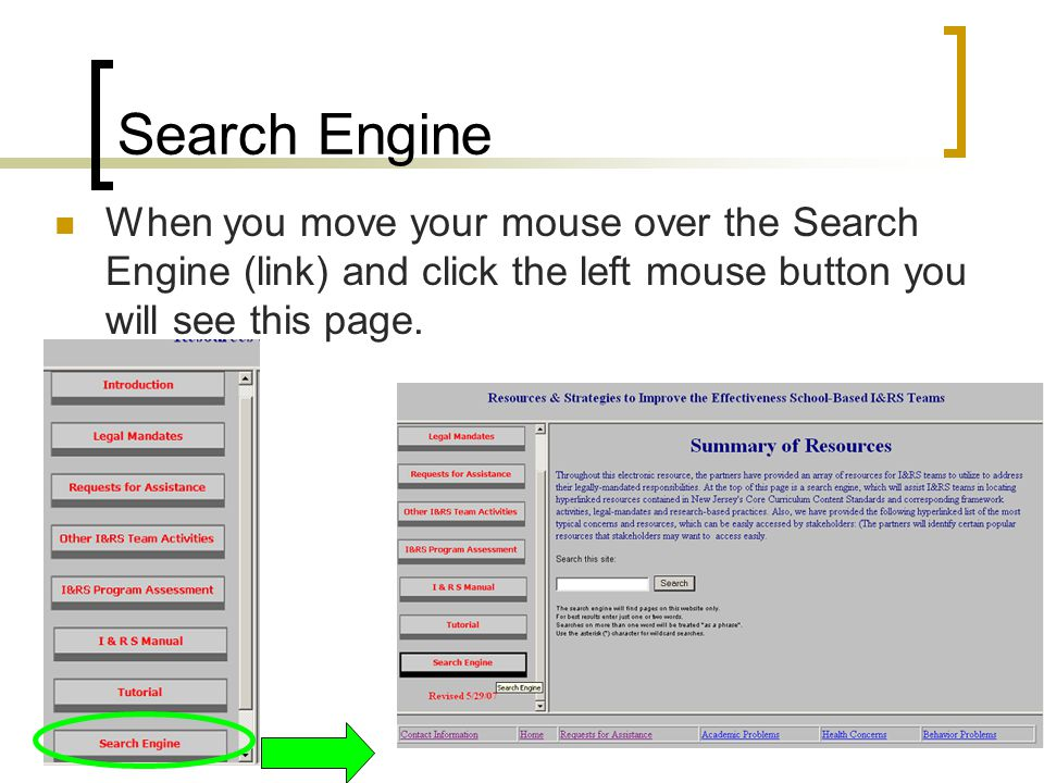 Search Engine When you move your mouse over the Search Engine (link) and click the left mouse button you will see this page.