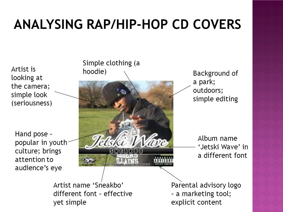 In majority of rap/hip-hop CD covers there is a parental advisory logo which I will include as a convention of a typical rap/hip-hop CD cover.
