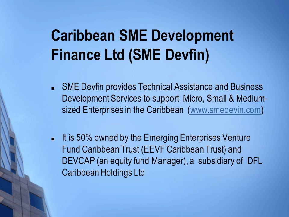 Caribbean SME Development Finance Ltd (SME Devfin) SME Devfin provides Technical Assistance and Business Development Services to support Micro, Small & Medium- sized Enterprises in the Caribbean (www.smedevin.com)www.smedevin.com It is 50% owned by the Emerging Enterprises Venture Fund Caribbean Trust (EEVF Caribbean Trust) and DEVCAP (an equity fund Manager), a subsidiary of DFL Caribbean Holdings Ltd