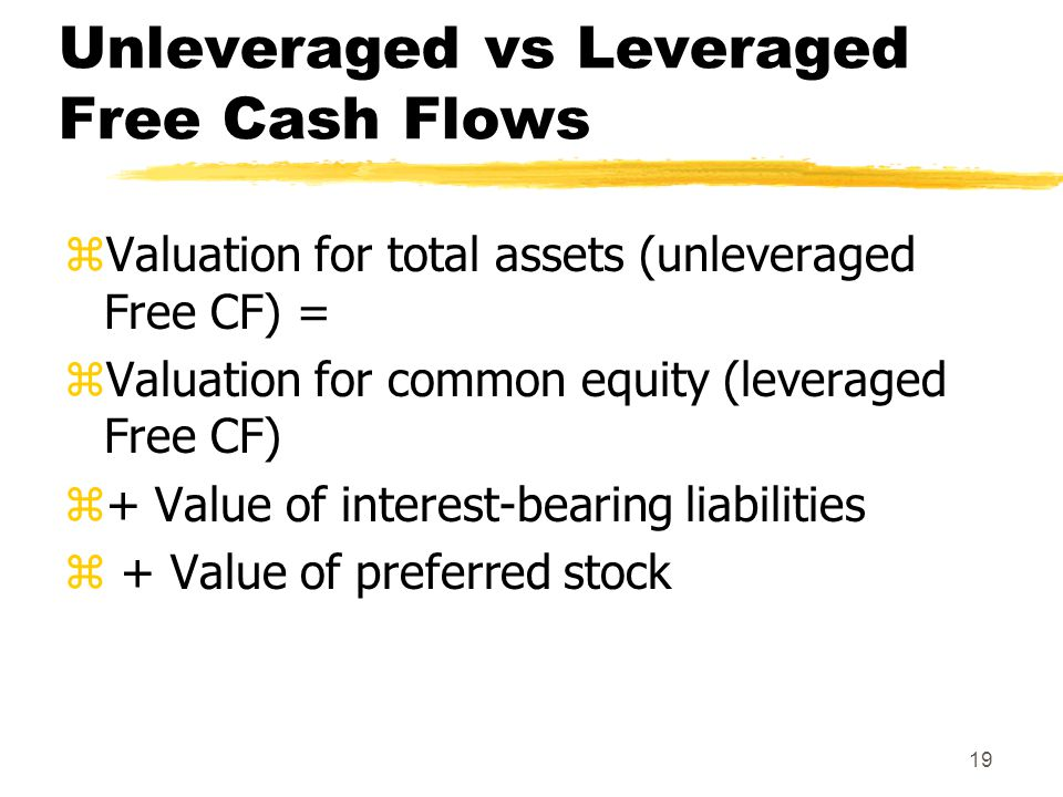 19 Unleveraged vs Leveraged Free Cash Flows zValuation for total assets (unleveraged Free CF) = zValuation for common equity (leveraged Free CF) z+ Va