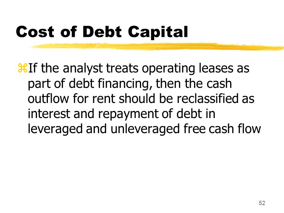 52 Cost of Debt Capital zIf the analyst treats operating leases as part of debt financing, then the cash outflow for rent should be reclassified as in